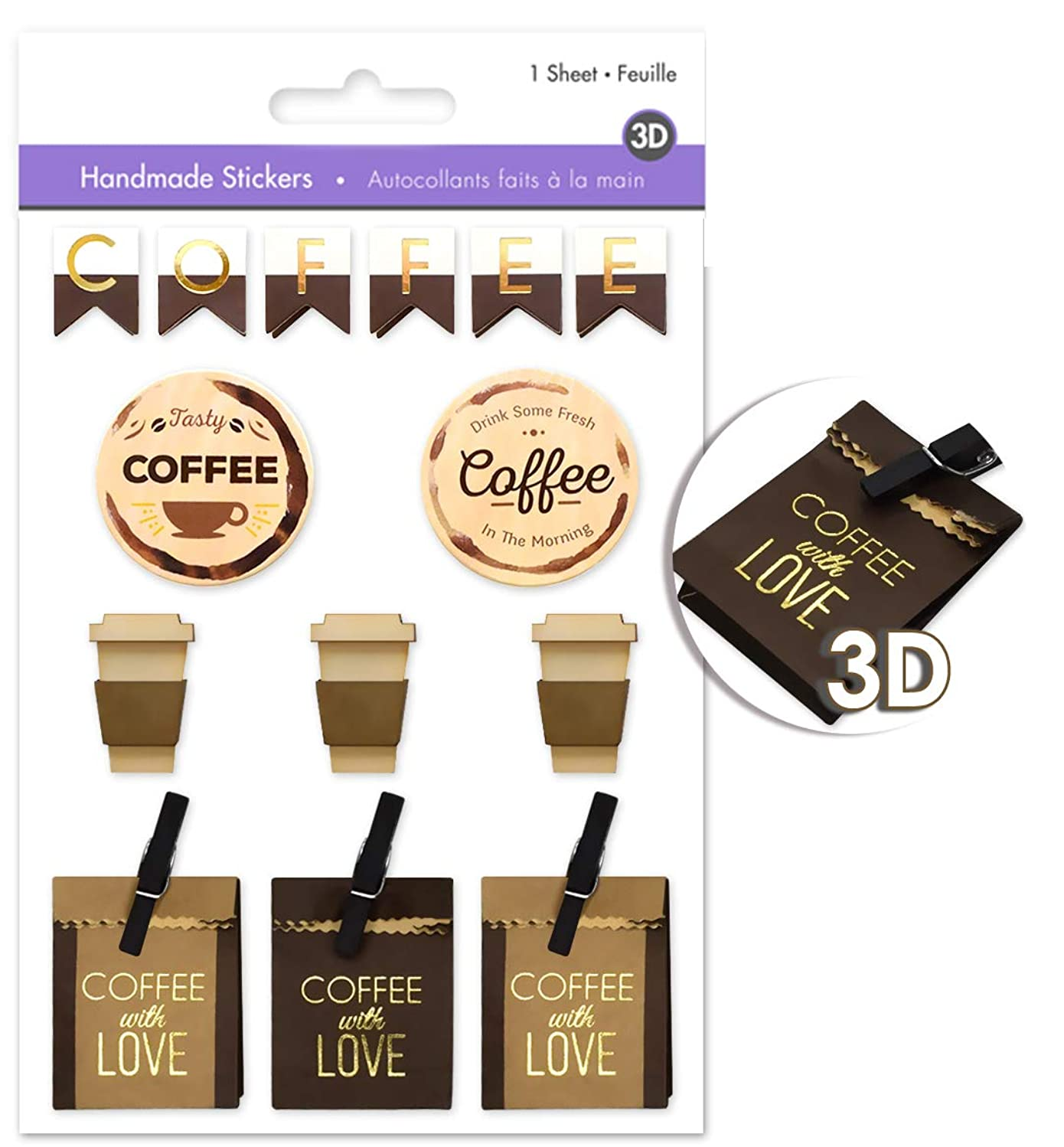 Coffee Scrapbook Stickers for Coffee Scrapbooking Stickers for Coffee Scrapbook with Multi-Texture Materials - Coffee Stickers, Handmade Paper Stickers, Pop-up Stickers, Layered Stickers