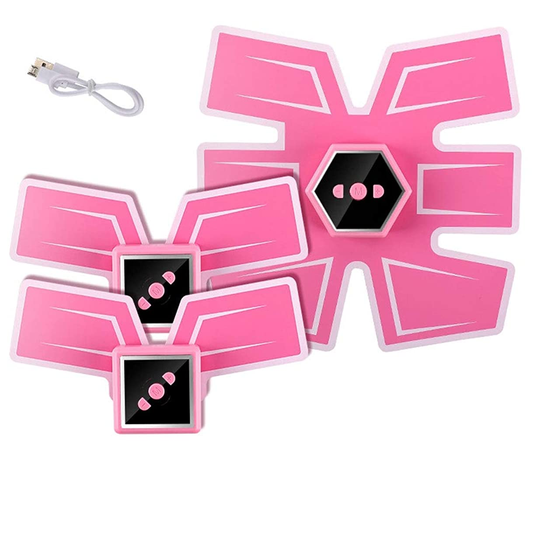 オデュッセウス有効化オリエント腹筋刺激装置、インテリジェントな音声ブロードキャストとUSB充電、Esther Beauty EMSトレーナー筋肉トナー腹部調色ベルトフィットネス機器 (Color : Ordinary-Pink, Size : C)