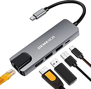 5 en 1 Adaptador USB C para MacBook Pro MacBook Air 2020/2019 y más Dispositivos USB c, DEMKICO Hub USB C con 4K HDMI, 100...