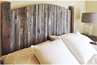 Modern Farmhouse Style Arched King Size Bed Headboard with Narrow Weathered Reclaimed Wood Slats, Rustic Bedroom Furniture, Contemporary Country Decor. All BarnWood W/Legs