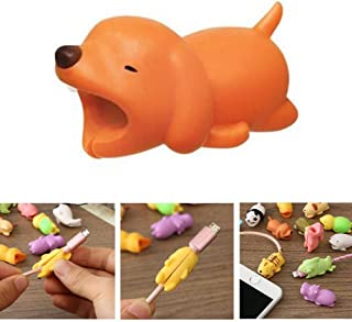 DECVO Cable Protector for iPhone iPad Cable Android Samsung Galaxy Cord Plastic Cute Land Animals Phone Accessory Protects USB Charger Data Protection Cover Chewers Earphone Cable Bite (Dog)