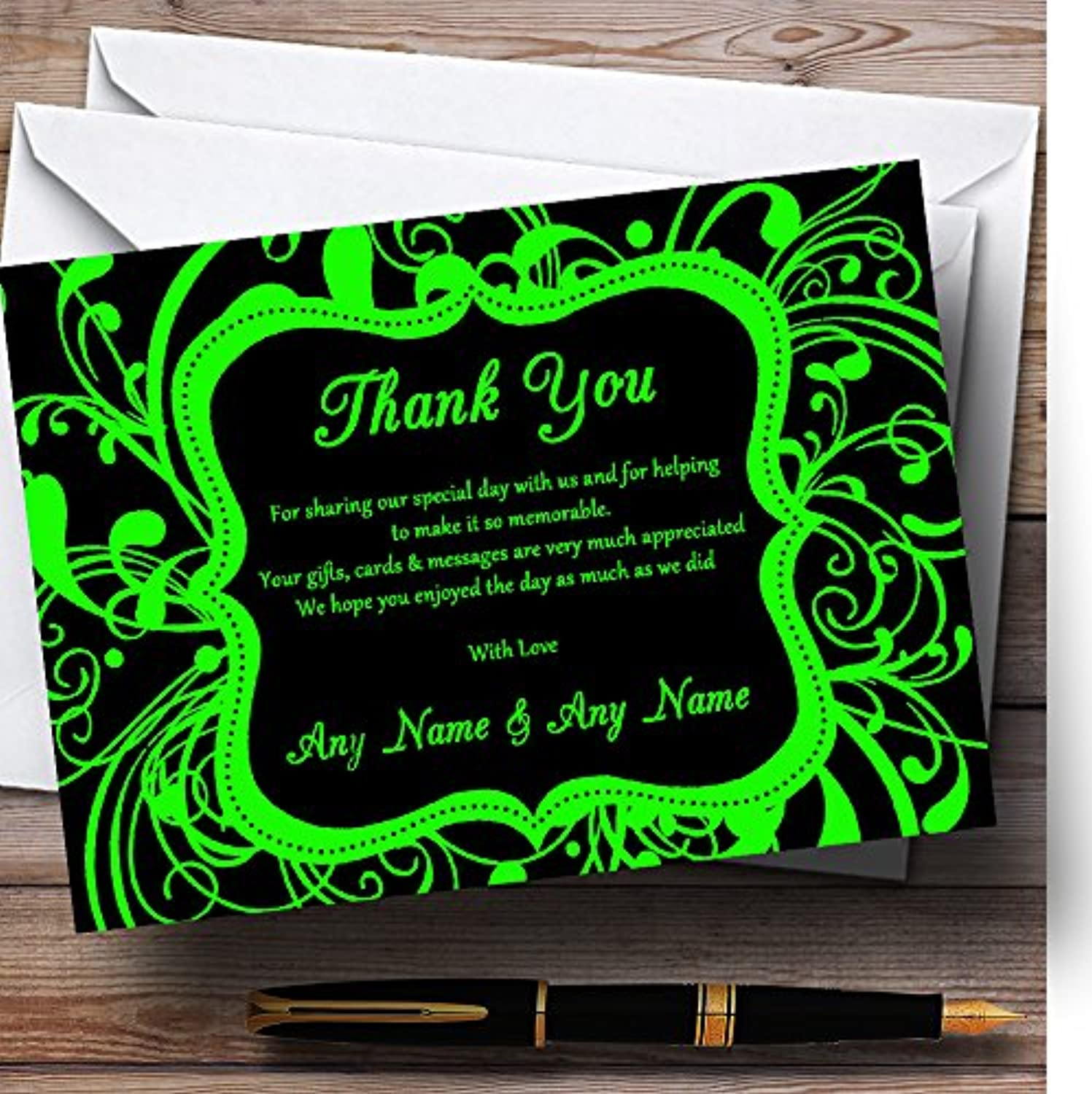 Black & Green Swirl Deco Personalised Wedding Stationery Thank You Cards