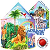 W&O Jungle Adventure Kids Tent with Jungle Call Button, Tent for Kids, Safari Animal Toys, Pop Up Tent Kids Play Tent for Boys & Girls, Outdoor Indoor Tents for Kids Tents Indoor Playhouses, Kid Tent