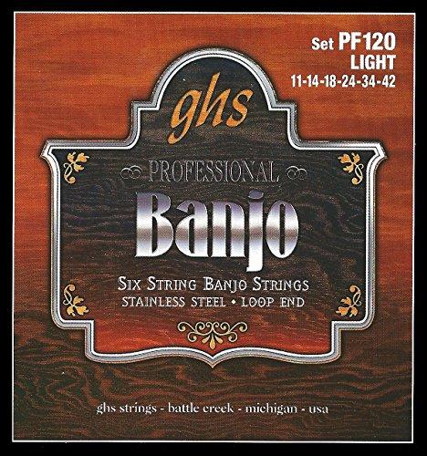 GHS PF120 Juego de 6 cuerdas para Banjo Light