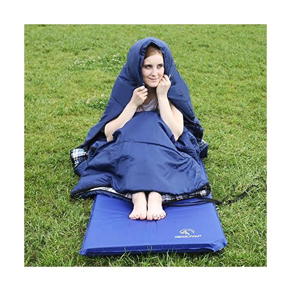 Saco de dormir de franela de algodón para adultos, 23/32F cómodo, sobre con bolsa de compresión, azul/gris, 2/3/4 libras… 1