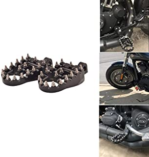 Goldfire Offroad Wide Motorcycle Fat Foot Pegs Pedals, 360° Roating Foot Pedals Footpegs Rests Suit for Harley Davidson Dyna Sportster Bobber (Black)