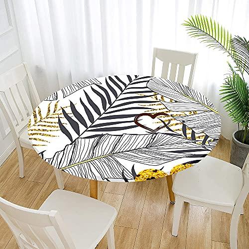 Fansu Impermeable Redondo Mantel con Borde Elástico, 3D Plantas Tropicales Mantel de Mesa Ajustada Cubierta de Mesa para Picnic Comedor Cocina Restaurante Cena (Amor de Oro,Diámetro 90cm)