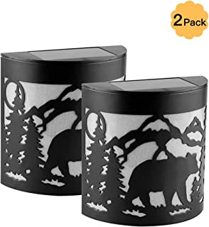 Pack of 2 LED Solar Powered Color Changing Mount Night Light Outdoor Waterproof Landscape Garden Yard Fence (Bear)
