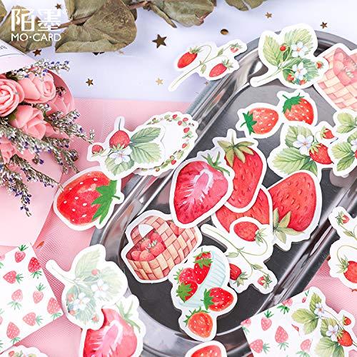 Aardbei Kaas Stickers Leuke Zoete Meisje Hart Fruit Vers Hand Account Materiaal Hand Account Decoratie Collage 45 Vellen