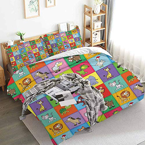 Aishare Store Nursery Duvet Cover Set,Group of Funny Young Animals in Colorful Squares Happy Cartoon Wildlife Collection,Decorative 3 Piece Bedding Set with 2 Pillow Shams,Full(80'x90') Multicolor