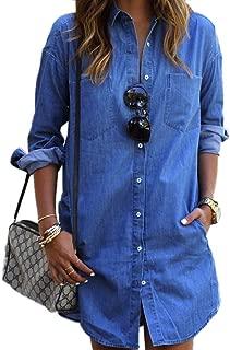 LISASTOR Womens Vintage Long Sleeve Blue Jean Denim Long Tunic Tops Blouse Denim Shift Dress