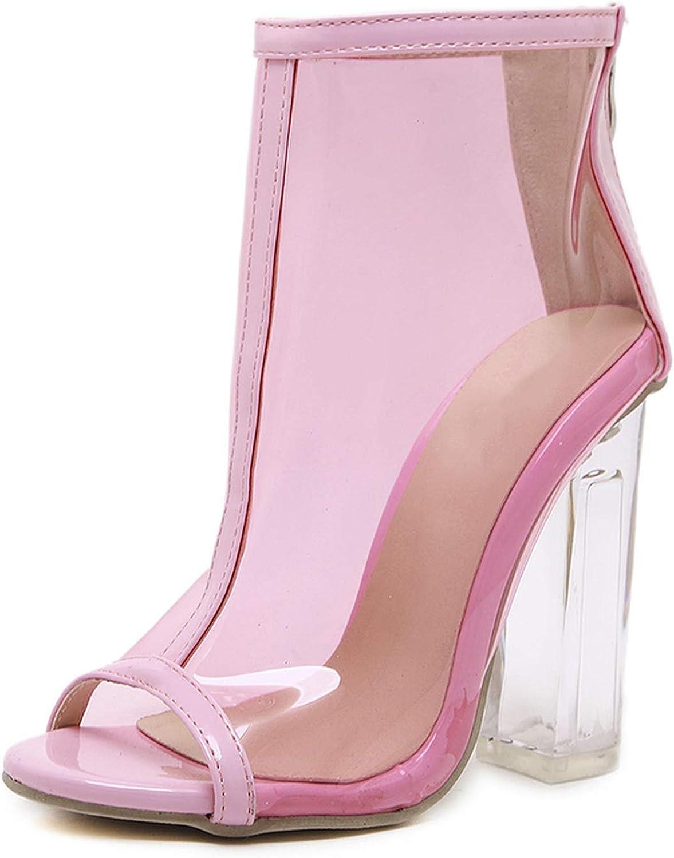 PVC Transparent Women Sandals Boots Clear High Heels Back Zipper Pink Solid Ankle Short Boots