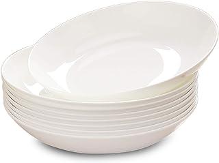 Dinner Plates مجموعة لوحة عشاء من السيراميك الأبيض، شريحة لحم كلاسيكية، المعكرونة، صفيحة سلطة، لوحة فاتح 8 بوصة مثالية للع...