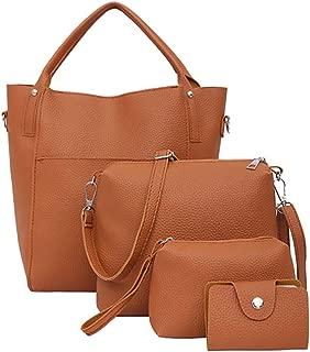 YESWOMAN Four-Piece Fashion Clutch Women Retro Wallet Leather Shoulder Bag Ladies Crossbody Bag Handbag Purse 4 Set