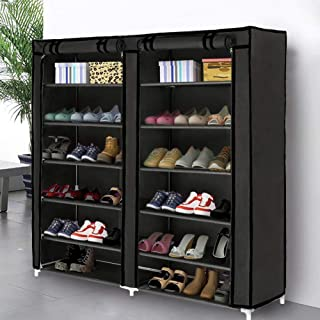 Blissun Shoe Rack Shoe Storage Organizer Cabinet Tower with Non-Woven Fabric Cover (Black)