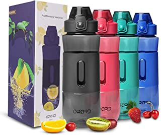Opard Fruit Infuser Water Bottle, 28 oz BPA Free Reusable Plastic Water Bottle for Sports with Flip Top Lid, Handle Recipes and Cleaning Brush