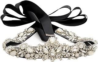 Yanstar Handmade Opal Bridal Belt Silver Crystal Rhinestone Wedding Dress Belt with Satin Ribbon for Brides
