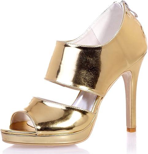 Elobaby Femmes Chaussures De Mariage Ivoire Mariée, Robe De Soirée PU Zippée Ivoire Toe Chaton Talons Hauts Peep Toe   11Cm Talon