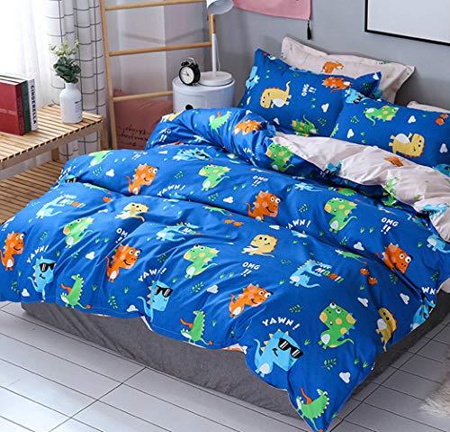 AShanlan Kinder Jungen Bettwäsche Dinosaurier 135x200 mit Kopfkissenbezug 80x80 100% Mikrofaser Blau/Grün Dino Motiv Bettbezüge Kinderbettwäsche-Set Babybettwäsche