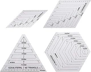 HUSHUI règle de matelassage, 4 pièces règle de matelassage avec Triangle hexagone 45 degrés 60 degrés modèles Patchwork Co...