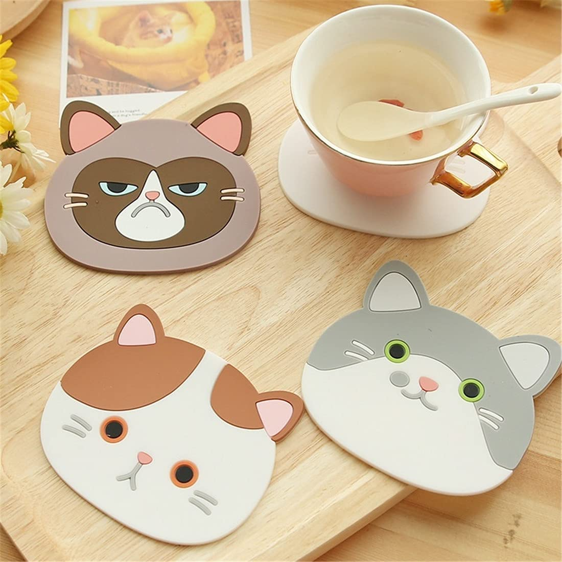 Cup Pad Financial sales sale Cute 100% quality warranty Cartoon Cat Placemat Beverage Drink Pot Coffee