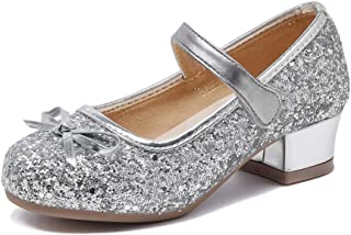 Abaowedding Glitter Girls Mary Jane Flat Shoes Princess Party Dress Shoes for Kids