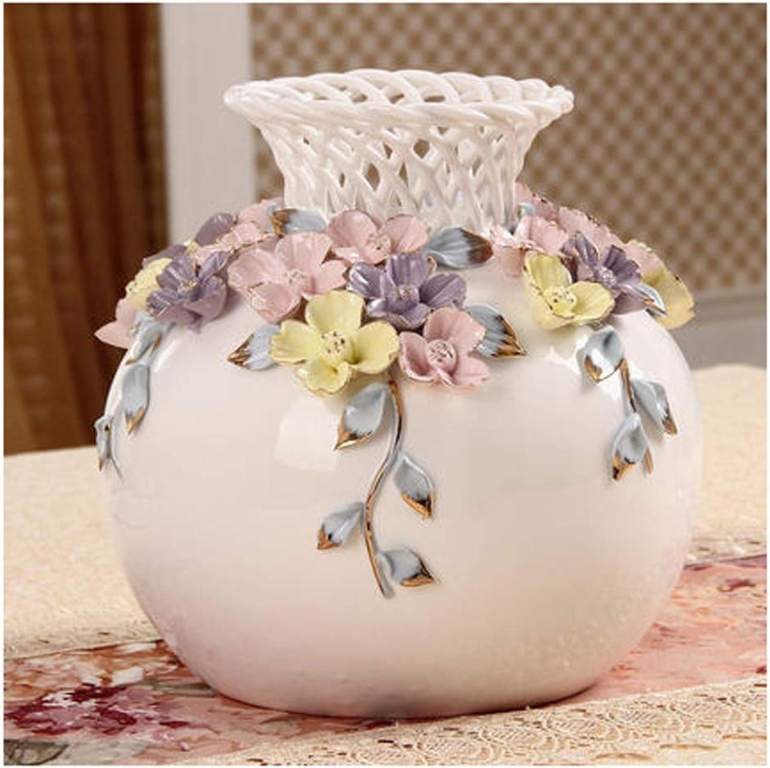 IUYWL Accessoires de Maison OrneHommests Rondes vases en céramique Fleurs Inserts Artisanat décoration décoration Deux pièces (Taille   19×19cm)