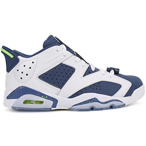 huge selection of 86a8f baa12 NIKE Mens Air Jordan 6 Retro Low Seahawks White Ghost Green-Isignia Blue  Leather
