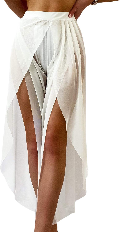 Romwe Women's Sheer Mesh Pants See Through Split Bottom Bikini Cover Up Pants