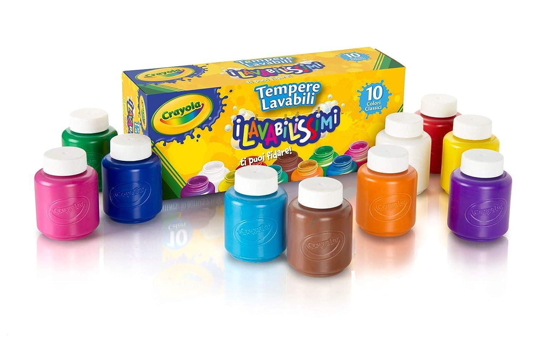 クレヨラ お絵かき 水でおとせるキッズ絵の具 10色セット (クラシックカラー) Washable Kid's Paint 10 Classic Colors 541205
