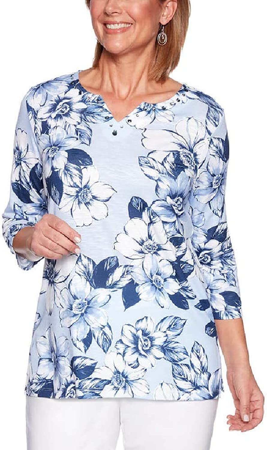 Alfred Dunner Women's 2019 Classics Floral Printed Tunic