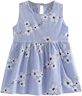 YWLINK Toddler Girls' Summer Princess Dress With Flower Embroidery Baby Party Wedding Sleeveless Comfortable Sweet Dresses