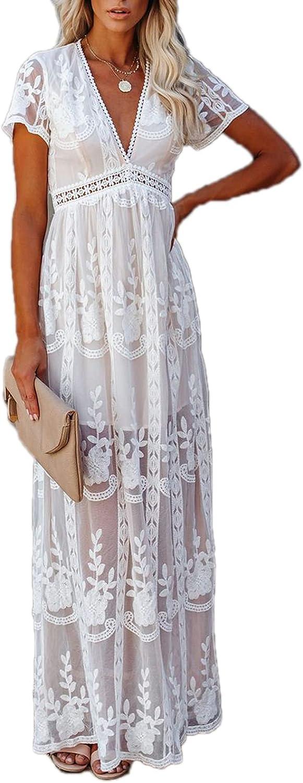 Floralmia Women's V Neck Floral Lace Crochet High Low Backless Bohemian Spaghetti Strap Maxi Long Dress