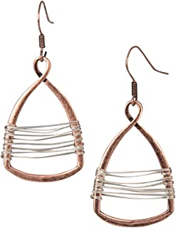 Silver with Gold Wire Copper Toned Handmade Teardrop Earrings