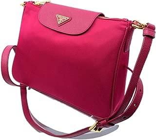 Women's Tessuto Saffiano Pink Ibisco Nylon Crossbody Bag Handbag 1BH933