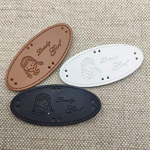 Heng mooie meid handgemaakte lederen ovale labels hoed handgemaakte tags voor meisjeskleding rugzak handgemaakte label voor kleding, gemengde kleuren 36 stuks