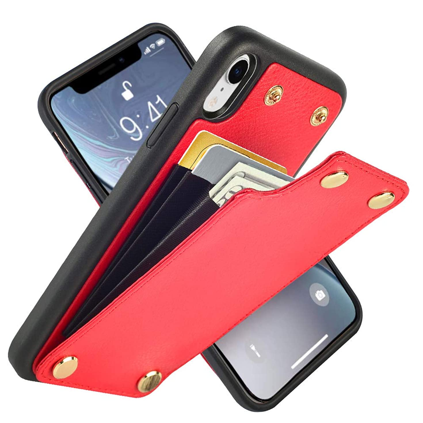 LAMEEKU Wallet Case for iPhone XR, Leather Credit Card Holder Case with Card Slot Money Pocket, Shockproof Protective Bumper Phone Cover Compatible with iPhone XR 6.1