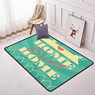 Home Sweet Home 3D Printed Round Carpet Abstract Yellow Roof with a Heart and Bird Background for Partial Areas W47.2 x L63 Inch Sea Green Pale Yellow Dark Coral