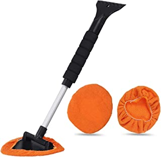 MATCC Window Windshield Cleaner Car Windshield Cleaning Tool Car Glass Wiper with Extendable 180° Long-Reach Handle and Washable Reusable Microfiber Pad, Interior Exterior Window Cleaning Kit