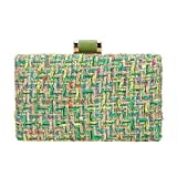 Bonjanvye Weave Fabric Clutch Bags for Women Evening Bags and Clutches Designer Green