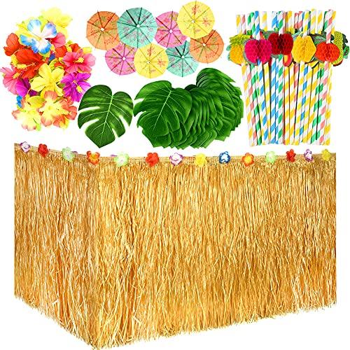TUPARKA 149 Pcs hawaïenne Tropical Party Décoration Set avec 9ft Herbe hawaïenne Jupe de Table, Feuilles Tropicales, Fleurs hawaïenne et des pioches pour Umbrella Jungle Beach Theme Aloha Luau