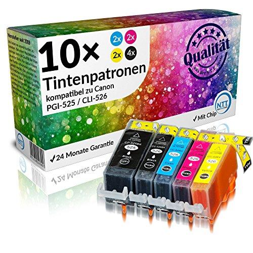NTT 10 XXL kompatible Druckerpatronen als Ersatz für Canon PGI-525 BK CLI-526 C CLI-526M CLI-526Y CLI-526BK (4X Schwarz, 2xCyan, 2xMagenta, 2xYellow)
