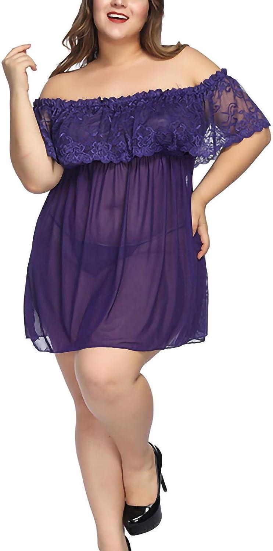 ZHISHILIUMAN Plus Size Lingerie Women Sexy Off Shoulder Lace Mesh Lingerie Chemise Dress Babydoll Sleepwear Nighty Sleepwear