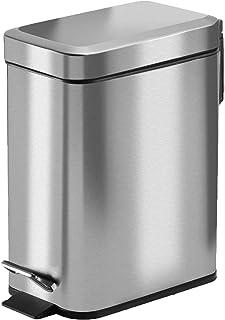 ゴミ箱 ペダルペール ふたつき ステンレス - オムツ 生ゴミ ペット 消臭 密閉 音無し おしゃれ,キッチン トイレ 室内 コンパクト 5L 四角 幅15cm(銀色)