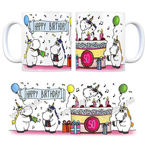 Kaffeebecher mit Einhorn Geburtstagsparty Motiv zum 50. Geburtstag Tasse Kaffeetasse Becher mug Teetasse Büro Unicorn Einhorngeschenk lustig witzig Spruch Einhorntasse kuscheln niedlich Torte Party