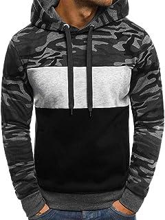 ANJUNIE Mens Hoodie Sweatshirts Long Sleeve Unisex Hoodies Camouflage Plus Size Pullover Jacket