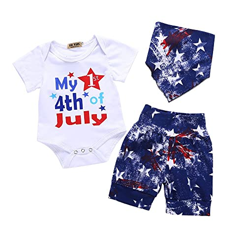 54f9ad2da31 4th July Baby Boys Girls Outfit My First 4th of July Short Sleeve Romper  American Flag
