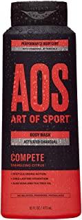 Art of Sport Activated Charcoal Body Wash for Men, Compete Scent, Energizing Citrus Fragrance with Tea Tree Oil and Aloe Vera, Deep Cleansing and Intensely Moisturizing, Sulfate Free 16 fl oz