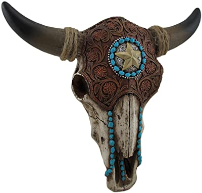 Zeckos Tooled Leather Look Covered Southwest Bull Skull Wall Sculpture