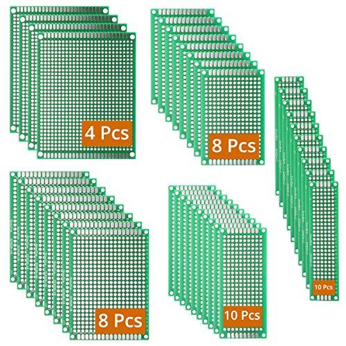 DEYUE 40 PCB PCS doppelseitig Prototyping PCB Leiterplatten-Kit | 5 Größe universal untraced perforiert bedruckt Stromkreise Boards | solder-able Circuit protoboards